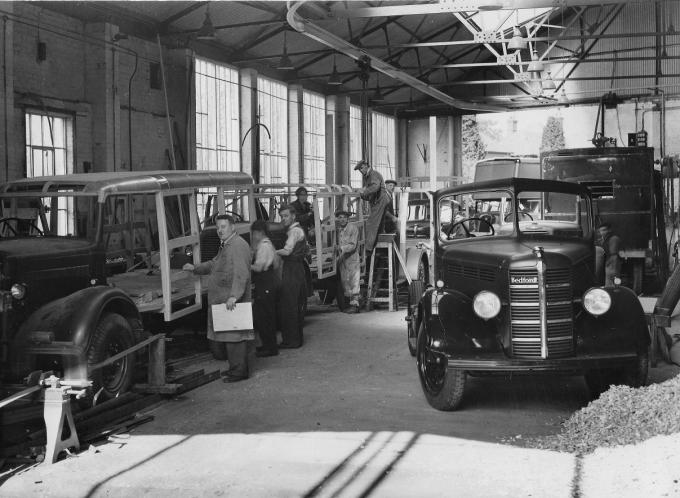 Men at work in the vehicle body shop